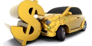 Car crashing into a dollar sign
